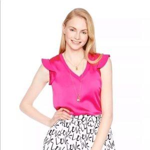 Kate Spade Satin Crepe Top Pink Size Medium